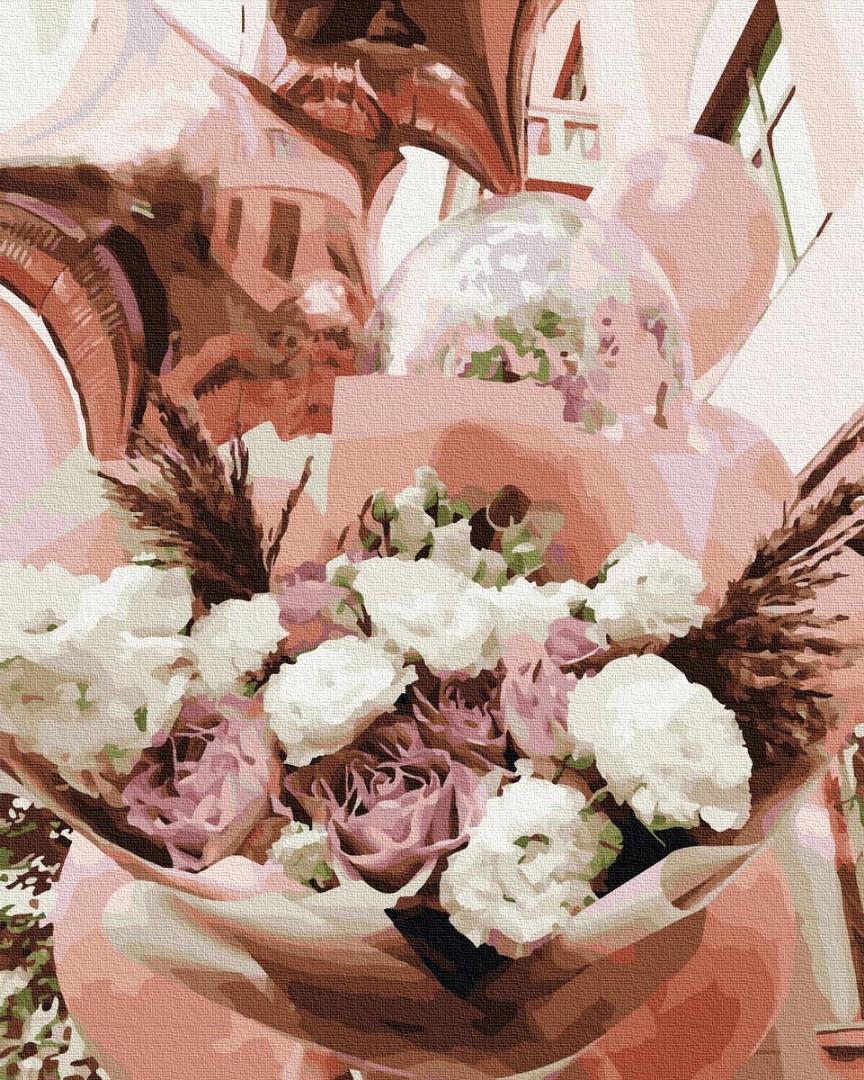 Картина по номерам. Цветы и воздушные шарики , 40*50 см, Brushme, без коробки