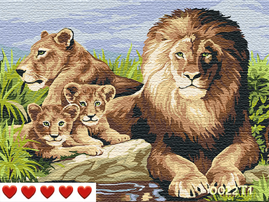 Картина по номерам Лев и семья, цветной холст, 40*50 см, без коробки Barvi