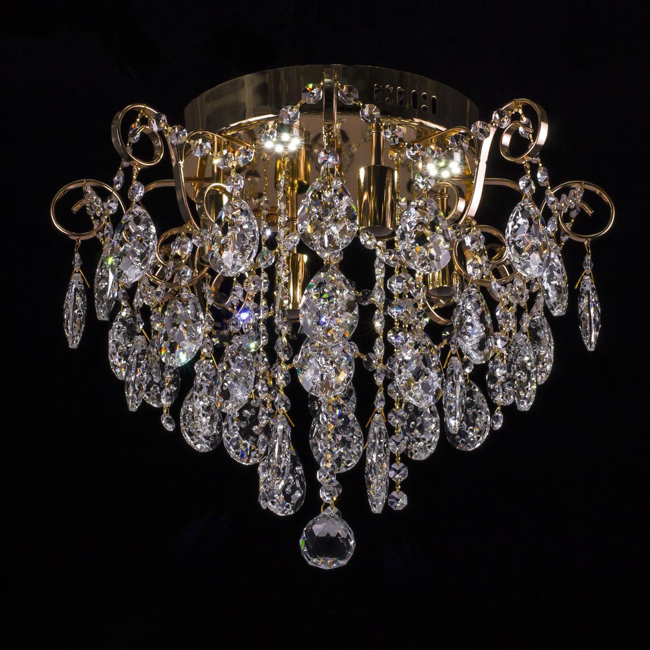 Хрустальная люстра, классическая с LED подсветкой на 4 лампочки. P5-E1136/4+4/FG
