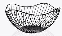 Корзина для фруктов металлическая Фруктовница Ваза для фруктов Nordic Modern 14х26 см, черный