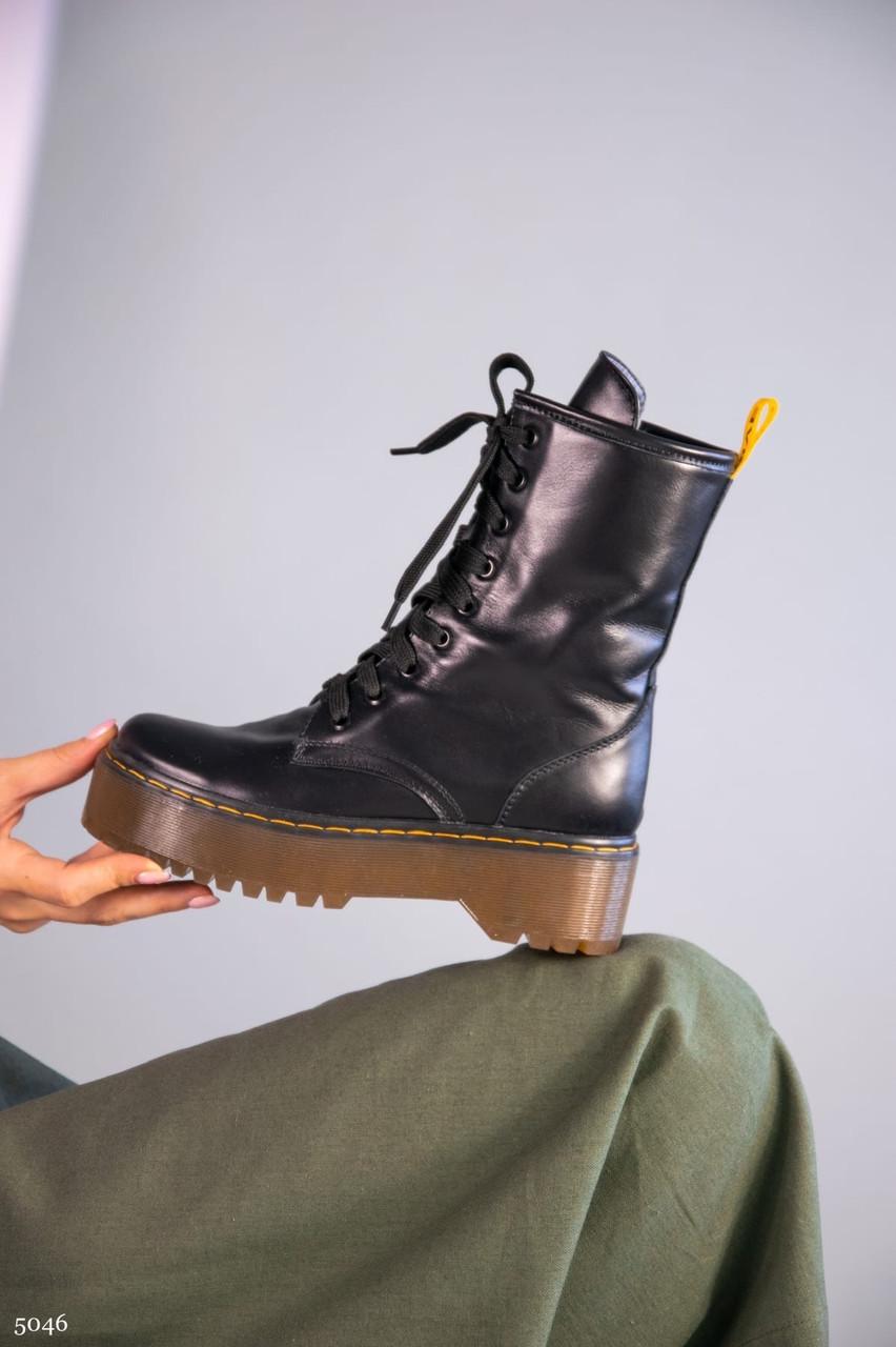 37 р. Ботинки женские деми черные кожаные на толстой подошве платформе демисезонные из натуральной кожи