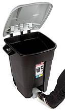 Бак для мусора 80л Eco Tayg (Испания) 40*58*79см на колесах с педалью и ручками (433016)