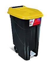Бак для мусора 80л Eco Tayg (Испания) 40*58*79см на колесах с педалью и ручками (433016) Желтый