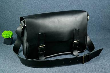 Кожаная мужская сумка Джоерман, натуральная кожа итальянский Краст цвет Черный