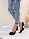 Женские туфли лодочки черные на каблуке 10,5 см эко-замш, фото 9