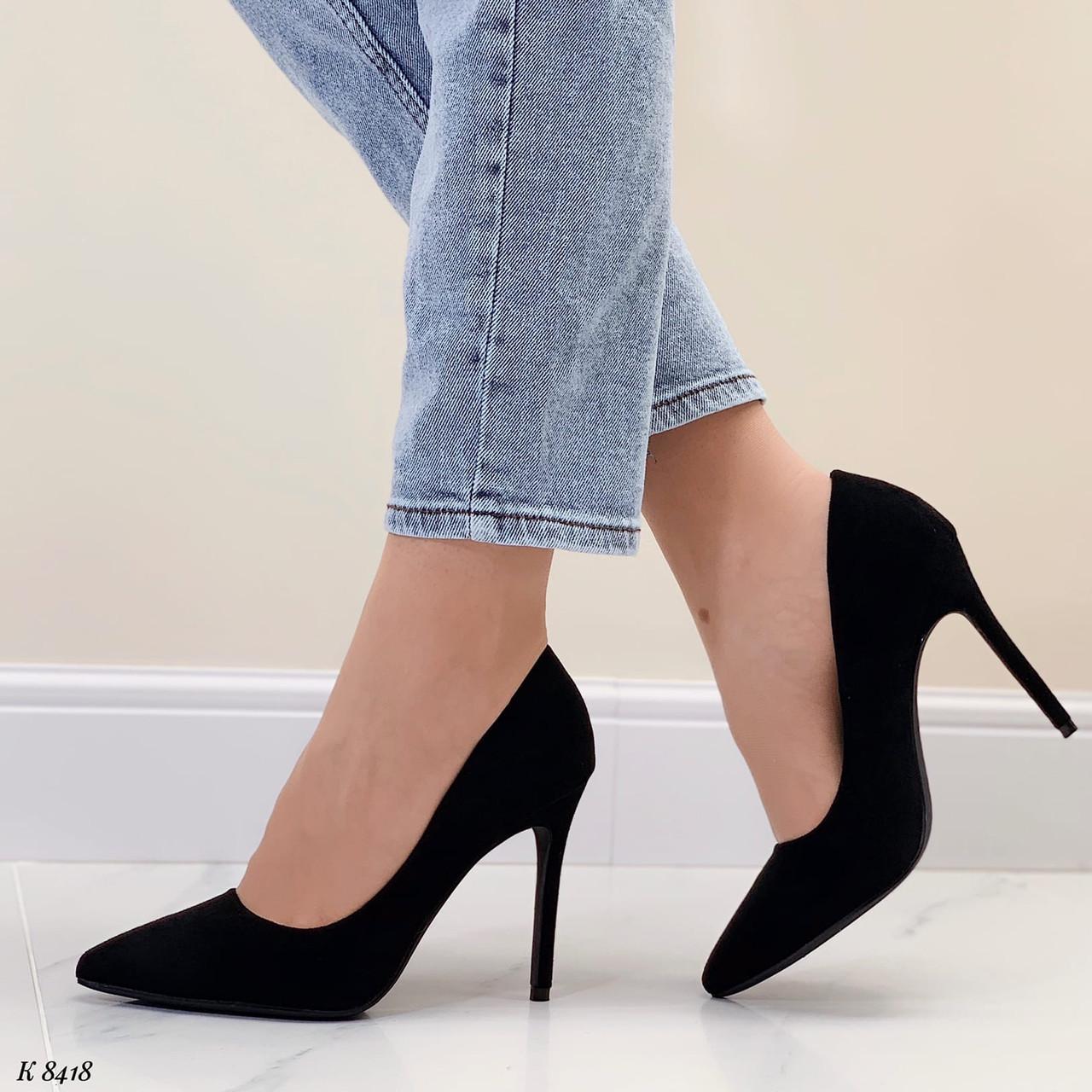 Женские туфли лодочки черные на каблуке 10,5 см эко-замш