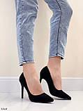 Женские туфли лодочки черные на каблуке 10,5 см эко-замш, фото 10