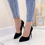 Женские туфли лодочки черные на каблуке 10,5 см эко-замш, фото 3