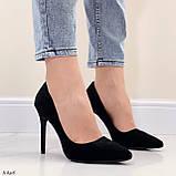 Женские туфли лодочки черные на каблуке 10,5 см эко-замш, фото 4