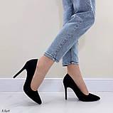 Женские туфли лодочки черные на каблуке 10,5 см эко-замш, фото 5