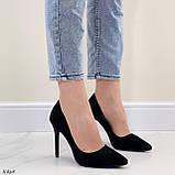 Женские туфли лодочки черные на каблуке 10,5 см эко-замш, фото 8