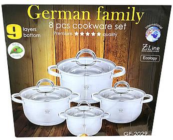 Набор кастрюль из нержавеющей стали German Family GF-2029 Набор кухонной посуды Кастрюли с крышками, фото 2