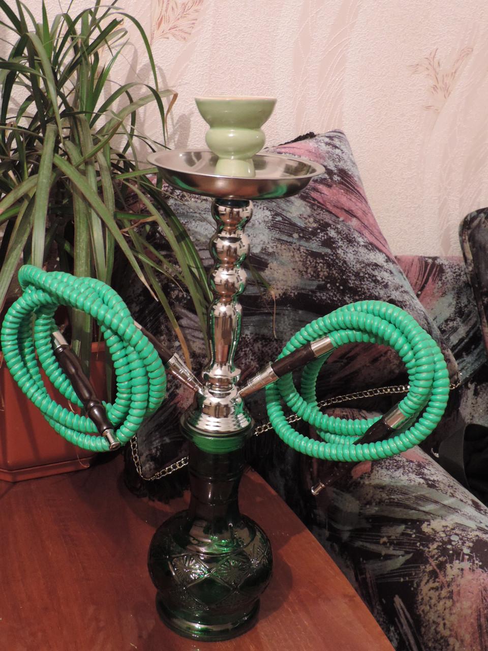 """Кальян """"Hookah Classik"""" - средний 46 см. высота на 2 шланга ( две персоны). Зеленый."""