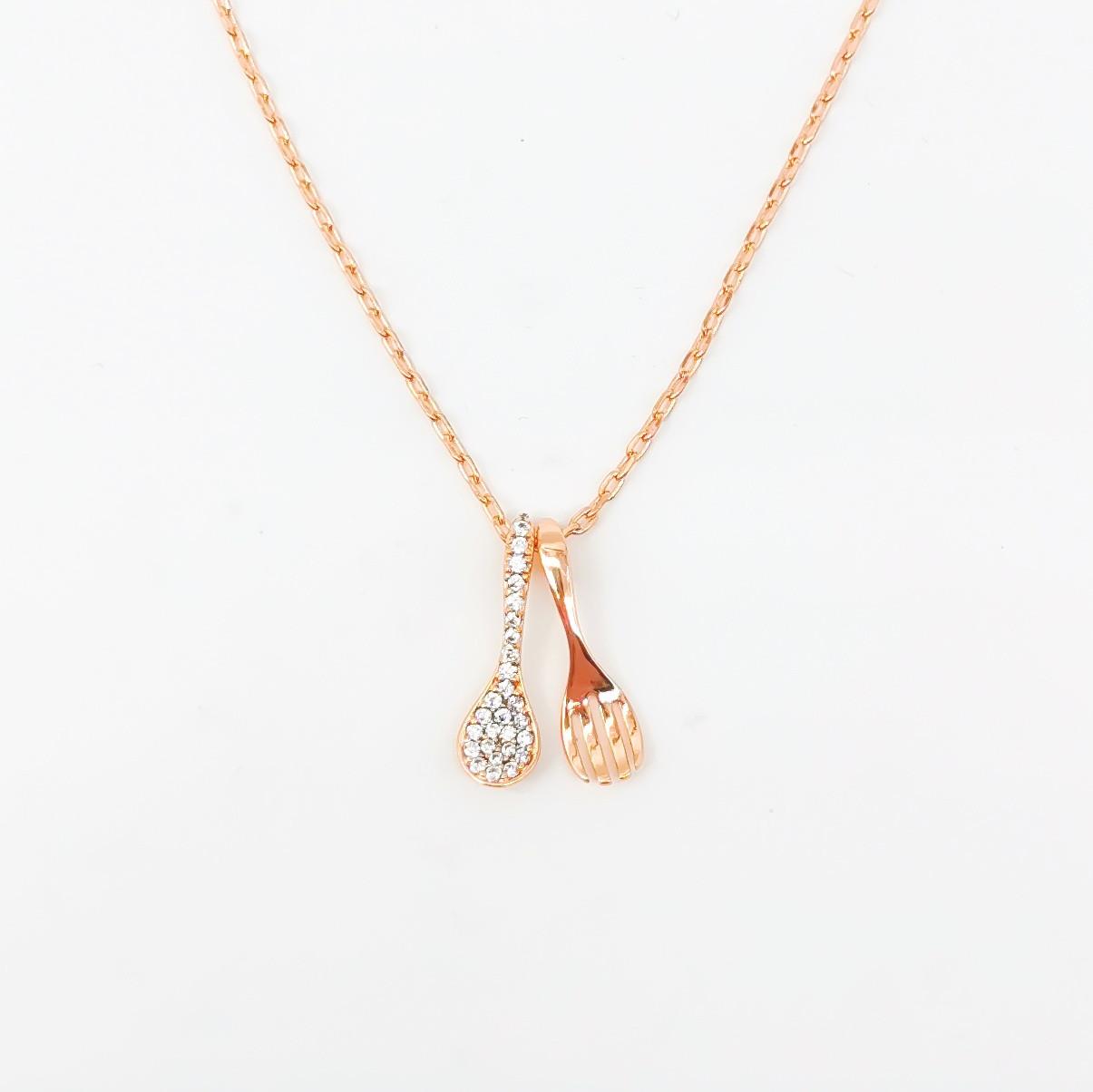 Подвеска Xuping из медицинского золота на цепочке, белые фианиты, позолота 18K, 42478       (1)