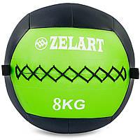 Мяч для кроссфита и фитнеса WALL BALL Медицинский медбол 8 кг ZELART Черный-зеленый (FI-5168-8)