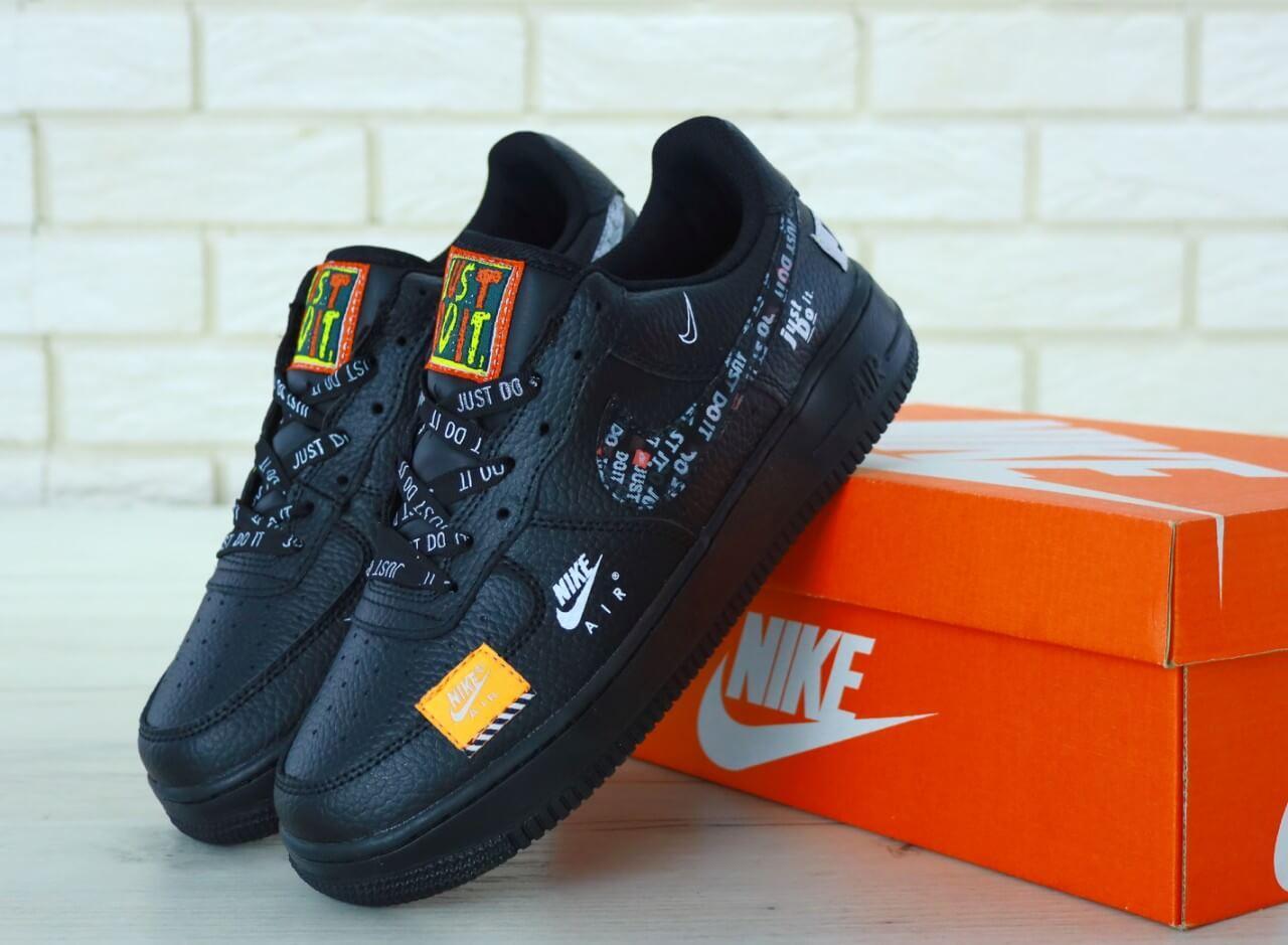 Кроссовки Nike Air Force 1 Low Just Do It Black (Кроссовки Найк Аир Форс Джаст Дуит черного цвета 36-45)