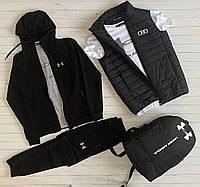 Спортивный Комплект Жилетка + Кофта + Штаны Under Armour мужской черный Спортивный костюм Андер Армор Люкс