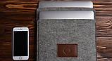 Чохол Babel's Craft Felty для MacBook Pro 15 Retina ( 2015-2013) сірий з коричневим, фото 2