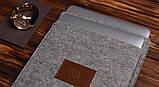 Чохол Babel's Craft Felty для MacBook Pro 15 Retina ( 2015-2013) сірий з коричневим, фото 3