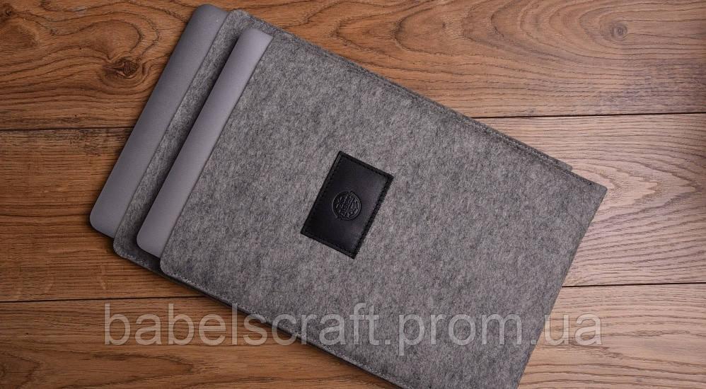 Чохол Babel's Craft Felty для MacBook Pro 13 (M1, 2020-2016) сірий з чорним