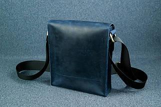 """Мужская сумка """"Модель №40"""", Винтажная кожа, Цвет Синий, фото 2"""