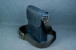 """Мужская сумка """"Модель №40"""", Винтажная кожа, Цвет Синий, фото 3"""