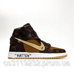 Женские кроссовки Nike Air Jordan 1 X LV Brown (коричневые)