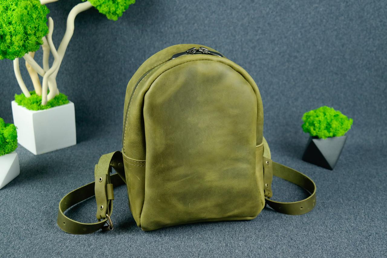 Жіночий шкіряний рюкзак Колібрі, натуральна Вінтажна шкіра колір Оливковий