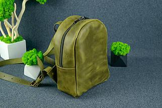 Жіночий шкіряний рюкзак Колібрі, натуральна Вінтажна шкіра колір Оливковий, фото 3