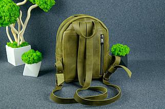 Жіночий шкіряний рюкзак Колібрі, натуральна Вінтажна шкіра колір Оливковий, фото 2