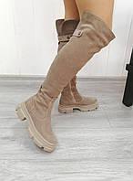 Стильні жіночі ботфорти з натурального замша бежевого кольору, фото 1