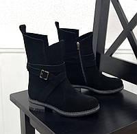 Вільні жіночі черевики, натуральний замш, фото 1