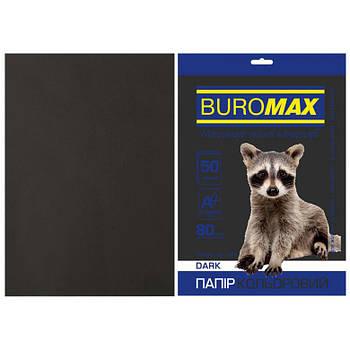 Бумага цветная для принтера А4 80г/м 50л. Buromax Dark черный BM.2721450-01