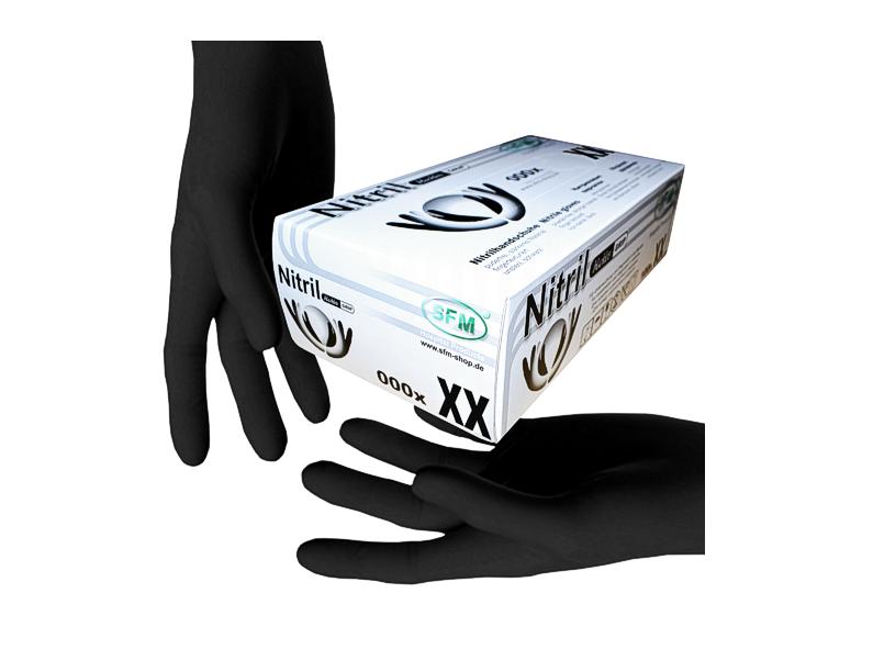 Рукавички нітрилові SFM чорні без пудри 100шт M