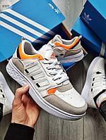 Мужские кроссовки Adidas Drop Step (бело-серые с оранжевым) 579TP спортивные демисезонные кроссы на весну