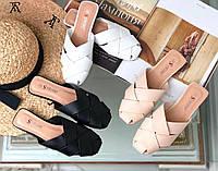 Жёнские шлёпанцы Мюли носок переплёт на низком ходу бежевые белые чёрные