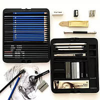 Подарок художнику профессиональный набор карандашей для скетчинга и рисования на 50 предметов