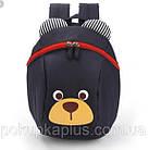 Детский рюкзак мишка в садик для мальчика мягкий Синий Код Ф-5