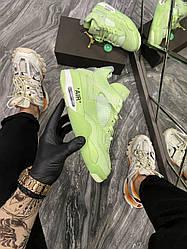 Женские кроссовки  Air Jordan 4 Neon Green (белые)