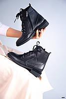 38 р. Ботинки женские деми черные кожаные на низком ходу низкий ход демисезонные из натуральной кожи кожа, фото 1