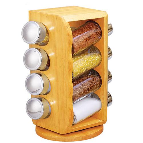 Ємності для спецій набір на дерев'яній підставці STENSON 9 предметів