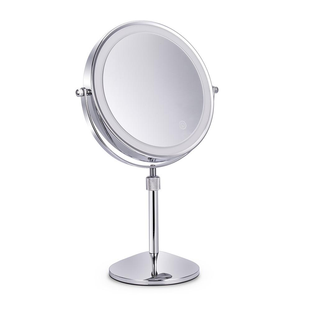 Косметичне двостороннє зеркало 20 см з 10х збільшенням і підсвіткою