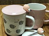 Кружка с крышкой и ложкой 400 мл Розовый ежик О8030-78, фото 2