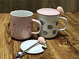Кружка с крышкой и ложкой 400 мл Розовый ежик О8030-78, фото 3