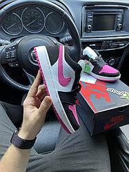 Женские кроссовки Air Jordan 1 Low Black Pink White (черный/розовый)