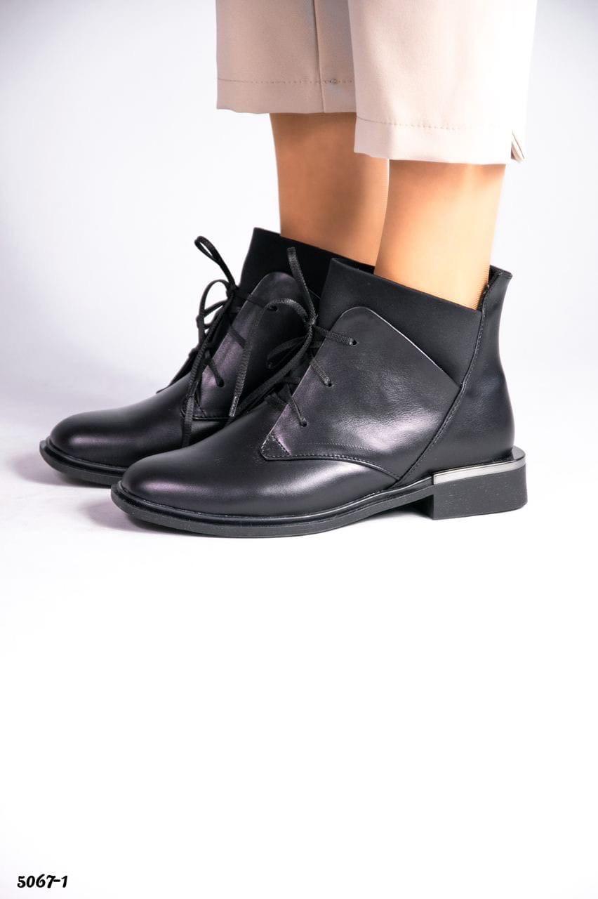 36 р. Ботинки женские деми черные кожаные на низком ходу низкий ход демисезонные из натуральной кожи кожа