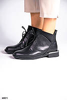 36 р. Ботинки женские деми черные кожаные на низком ходу низкий ход демисезонные из натуральной кожи кожа, фото 1