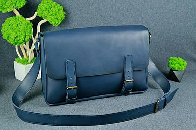 Кожаная мужская сумка Джоерман, натуральная кожа итальянский Краст цвет Синий