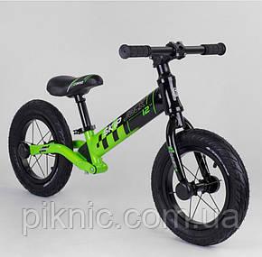 """Велобег Corso """"Skip Jack"""" колеса 12"""" надувные, алюминиевая рама, амортизатор, в коробке. ЧЕРНО-ЗЕЛЕНЫЙ, фото 2"""