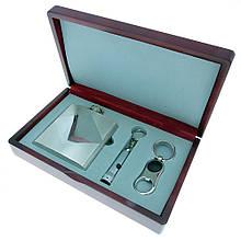 Подарочный набор с флягой FW-7 (фляга 1406YB-01 TO 1406YB-12, брелок KA-0476 фонарик)